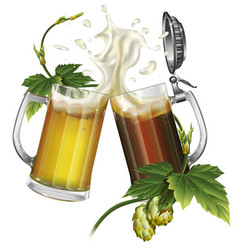 two mugs with dark light beer and hops vector image