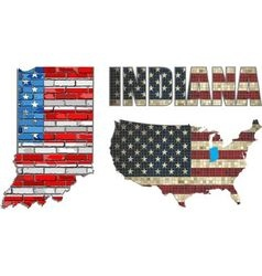 USA state of Indiana on a brick wall vector