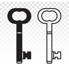 Vintage access key line art and key lock flat vector