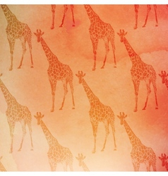 Vintage giraffes pattern on watercolor vector
