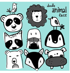 Wild animal face doodle set vector