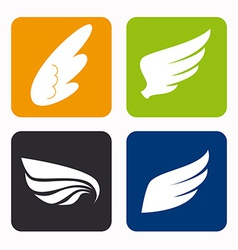 Wings icons vector