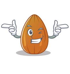 Wink almond nut character cartoon vector