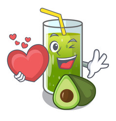 with heart avocado smoothies are isolated on vector image