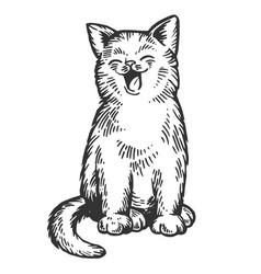 Yawning cat engraving vector