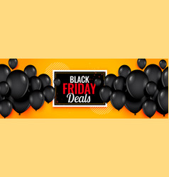 yellow black friday deals balloons banner design vector image