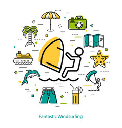 fantastic windsurfing - round line concept vector image