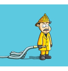fireman holding the hose vector image vector image