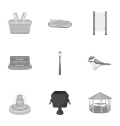 Park set icons in monochrome style Big collection vector image vector image