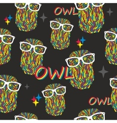 Seamless pattern with hipster owls vector image