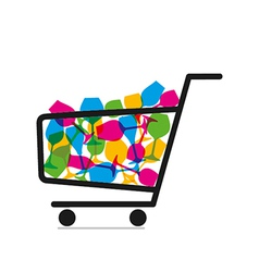 Shopping trolley full of drink glasses vector image