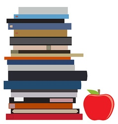 Book stack and apple vector image