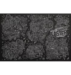 Chalkboard doodles cartoon set of Easter vector image vector image