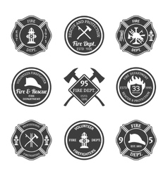 Fire department emblems black vector image vector image
