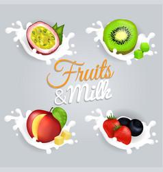 Fruit splashing in milk colorful poster vector