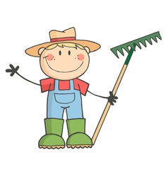 Gardening Kid Waving A Greeting vector image