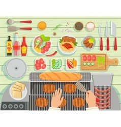 Grill Restaurant Cooking Table Elements Set View vector image