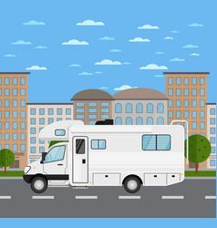 modern camper van in urban landscape vector image vector image