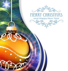 Orange christmas ball with fir branches vector