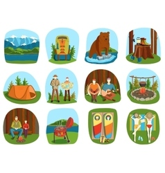 Set of camping equipment symbols and icons summer vector image