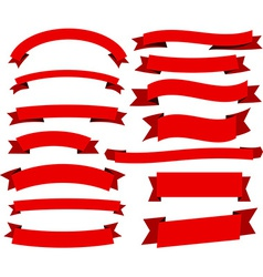 Set of red flat ribbons vector image