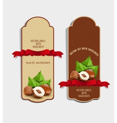 set of vertical labels with hazelnuts vector image vector image