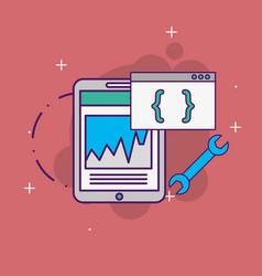 smartphone website code support repair tool vector image