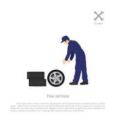 tire service mechanic changing a car wheel vector image vector image