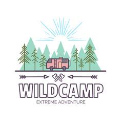 wildcamp life summer extreme adventuretrendy vector image