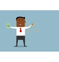 Businessman choosing between honest and corrupt vector