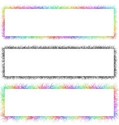 Colorful and monochrome sketch banner frame set vector image