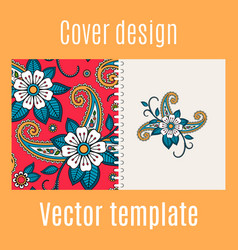 cover design with floral indian pattern vector image