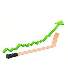 hockey stick growth vector image