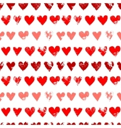 Red on white grunge hearts print seamless pattern vector image vector image