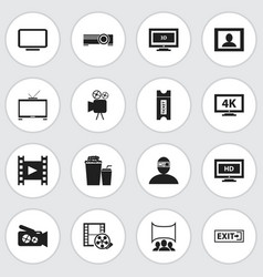 set of 16 editable filming icons includes symbols vector image