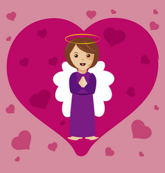 angel with heart vector image vector image