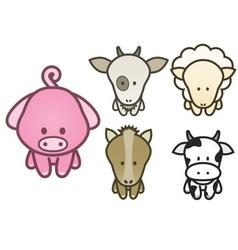 cartoon farm animals set vector image vector image
