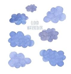 Hand drawn blue watercolor cloud vector image