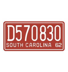 South Carolina 1962 license plate vector image vector image