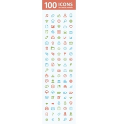 100 icons for web and mobile vector image