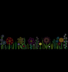 abstract floral design on black background vector image