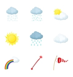 Air temperature icons set cartoon style vector image