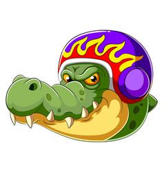 Alligator wearing helmet racer vector