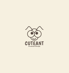 Animal insect ant head lines cartoon cute logo vector