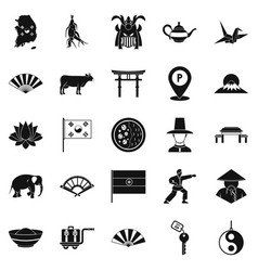 Asian things icons set simple style vector