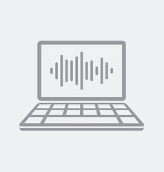 Audio wave on laptop vector