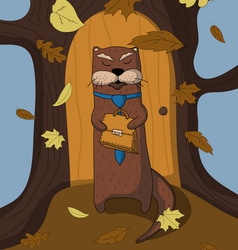 Autumn otter manager vector