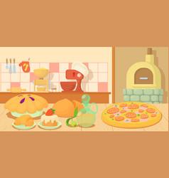 Bakery horizontal banner concept cartoon style vector