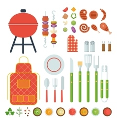 bbq set of tools vector image