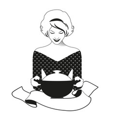 beautiful housewife dressed in retro style vector image